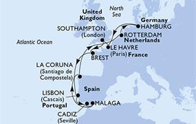 MSC Preziosa - Francie, Velká Británie, Portugalsko, Španělsko, Nizozemí, Německo (Le Havre)