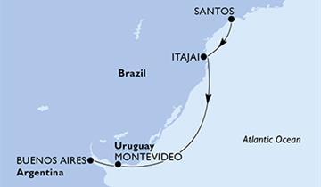 MSC Sinfonia - Brazílie, Uruguay, Argentina (Santos)
