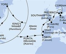 MSC Meraviglia - USA, Bermudy, Portugalsko, Španělsko, Velká Británie, Francie, Dánsko, Německo (z Miami)
