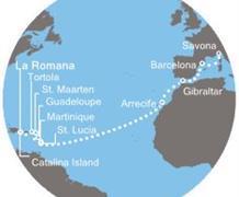Costa Favolosa - Dominikán.rep., Panenské ostrovy, Antily, Kanárské ostrovy, Gibraltar, Španělsko, Itálie (z La Romana)