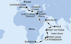 MSC Orchestra - Itálie, Řecko, Egypt, Izrael, Jordánsko, Omán, Maledivy, Seychely, Mauritius, Réunion, Jihoafrická r. (z Civitavecchie)
