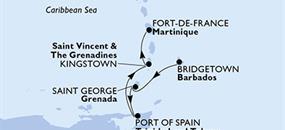 MSC Preziosa - Barbados, Grenada, Trinidad a Tobago, Saint Vincent & The Grenadines, Martinik (Bridgetown)