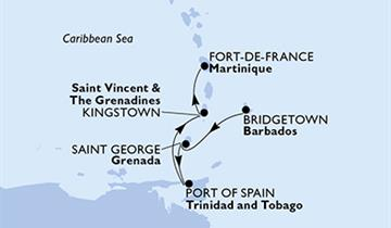 MSC Preziosa - Barbados, Grenada, Trinidad a Tobago, Saint Vincent & The Grenadines, Martinik (Bridgetown)