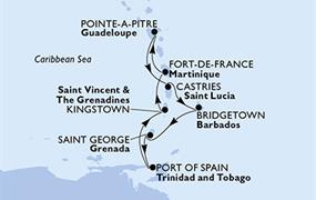 MSC Preziosa - Guadeloupe, Sv.Lucie, Barbados, Grenada, Trinidad a Tobago, Saint Vincent & The Grenadines, Martinik (Pointe-a-Pitre)