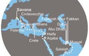 Costa Diadema - Itálie, Řecko, Jordánsko, Omán, Arabské emiráty (ze Savony)