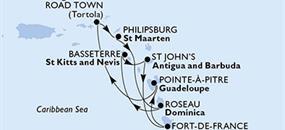 MSC Preziosa - Martinik, Guadeloupe, Panenské ostrovy (British), Nizozemské Antily, Dominika, Sv.Kryštof a Nevis, Antigua a Barbuda