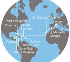 Costa Luminosa - Florida (USA), Bahamy, Jamajka, Kajmanské ostrovy, Honduras, Mexiko, Portoriko, Antily, Kanárské ostrovy, Španělsko, Francie, Itálie