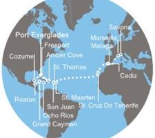 Costa Luminosa - Florida (USA), Bahamy, Jamajka, Kajmanské ostrovy, Honduras, Mexiko, Portoriko, Antily, Kanárské ostrovy, Španělsko, Francie, Itálie, Chorvatsko