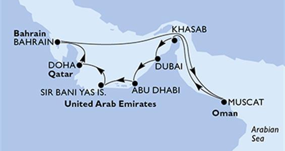 MSC Lirica - Arabské emiráty, Katar, Bahrajn, Omán (z Dubaje)