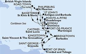 MSC Preziosa - Guadeloupe, Sv.Lucie, Barbados, Grenada, Trinidad a Tobago, Saint Vincent & The Grenadines, Martinik, Panenské ostrovy (British), Nizozemské Antily, Dominika, Sv.Kryštof a Nevis, Antigu