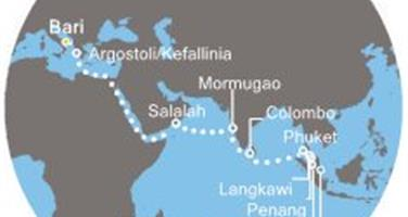 Costa Mediterranea - Itálie, Řecko, Omán, Indie, Srí Lanka, Thajsko, Malajsie, Singapur (Bari)
