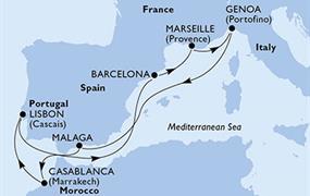 MSC Splendida - Španělsko, Maroko, Portugalsko, Francie, Itálie (z Malagy)