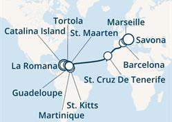 Costa Magica - Dominikán.rep., Panenské ostrovy, Antily, Kanárské ostrovy, Španělsko, Francie, Itálie (z La Romana)