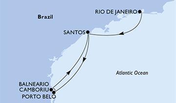 MSC Preziosa - Rio de Janeiro, Santos, Porto Belo, Camboriu, Santos (z Rio de Janeira)