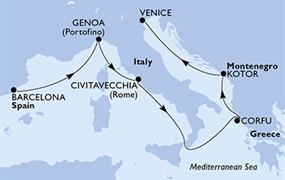 MSC Magnifica - Španělsko, Itálie, Řecko, Černá Hora (z Barcelony)