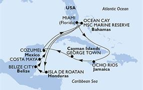 MSC Meraviglia - USA, Jamajka, Kajmanské ostrovy, Mexiko, Bahamy, Honduras, Belize (z Miami)