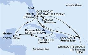 MSC Seaside - USA, Portoriko, Panenské ostrovy (U.S.), Bahamy, Mexiko, Kajmanské ostrovy, Jamajka