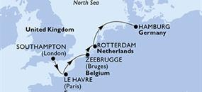 MSC Preziosa - Velká Británie, Francie, Belgie, Nizozemí, Německo (ze Southamptonu)