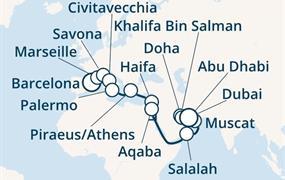 Costa Diadema - Španělsko, Francie, Itálie, Řecko, Jordánsko, Omán, Arabské emiráty (z Barcelony)