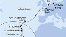 MSC Preziosa - Martinik, Guadeloupe, Antigua a Barbuda, Portugalsko, Francie, Německo
