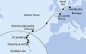MSC Preziosa - Guadeloupe, Antigua a Barbuda, Portugalsko, Francie, Německo