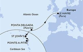 MSC Preziosa - Guadeloupe, Antigua a Barbuda, Portugalsko, Francie
