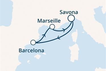 Costa Favolosa - Itálie, Španělsko, Francie (ze Savony)