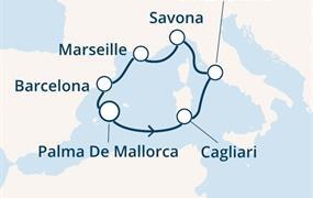 Costa Smeralda - Baleáry, Itálie, Francie, Španělsko (Palma de Mallorca)