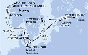 MSC Poesia - Dánsko, Německo, Norsko, Švédsko, Estonsko, Rusko