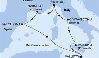 MSC Grandiosa - Marseille,Janov,Civitavecchia,Palermo,Valletta,Barcelona,Marseille (Marseille)