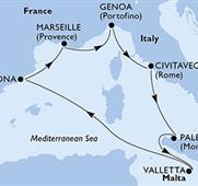 MSC Grandiosa - Palermo,Valletta,Barcelona,Marseille,Janov,Civitavecchia,Palermo (Palermo)