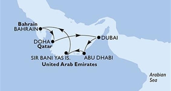 MSC Fantasia - Abu Dhabí,Sir Bani Yas,Bahrajn,Doha,Dubaj,Dubaj,Abu Dhabí (z Abú Dhabí)