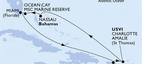 MSC Meraviglia - USA, Portoriko, Panenské ostrovy (U.S.), Bahamy