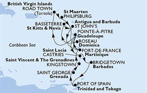 MSC Poesia - Fort de Francie,Pointe-a-Pitre,Road Town,Philipsburg,Roseau,Basseterre,St John s,Fort de Francie,Pointe-a-Pitre,Castries,Bridgetown,Port of Španělsko,Saint George,Kingstown,Fort de Franci