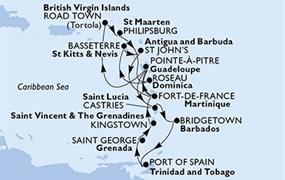 MSC Poesia - Pointe-a-Pitre,Road Town,Philipsburg,Roseau,Basseterre,St John s,Fort de Francie,Pointe-a-Pitre,Castries,Bridgetown,Port of Španělsko,Saint George,Kingstown,Fort de Francie,Pointe-a-Pitre