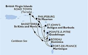MSC Poesia - Pointe-a-Pitre,Road Town,Philipsburg,Roseau,Basseterre,St John s,Fort de Francie,Pointe-a-Pitre (Pointe-a-Pitre)
