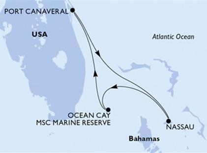 MSC Divina - Port Canaveral,Nassau,Ocean Cay,Port Canaveral