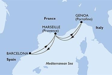 MSC Seaside - Barcelona,Marseille,Janov,Marseille,Barcelona (z Barcelony)