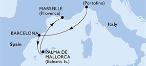 MSC Grandiosa - Janov,Barcelona,Palma de Mallorca,Palma de Mallorca,Marseille (z Janova)