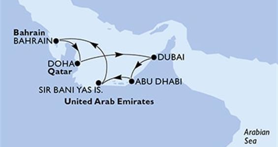 MSC Virtuosa - Arabské emiráty,Bahrajn,Katar (z Dubaje)