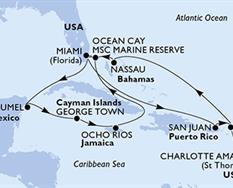 MSC Meraviglia - USA,Portoriko,Panenské ostrovy (U.S.),Bahamy,Mexiko,Kajmanské ostrovy,Jamajka
