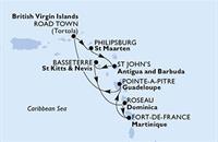 MSC Poesia - Martinik,Guadeloupe,Panenské ostrovy (British),Nizozemské Antily,Antigua a Barbuda,Sv.Kryštof a Nevis,Dominika