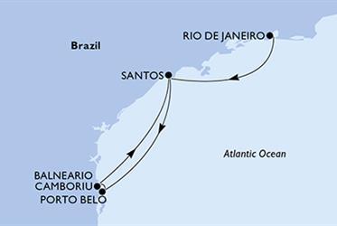 MSC Preziosa - Rio de Janeiro,Santos,Porto Belo,Balneario Camboriu,Santos (z Rio de Janeira)