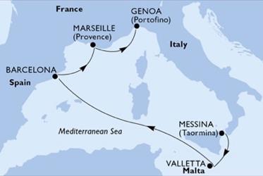 MSC Seashore - Itálie,Malta,Španělsko,Francie (Messina)