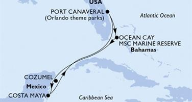 MSC Seaside - USA,Bahamy,Mexiko
