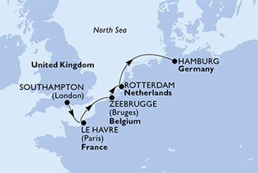 MSC Preziosa - Velká Británie,Francie,Belgie,Nizozemí,Německo (ze Southamptonu)