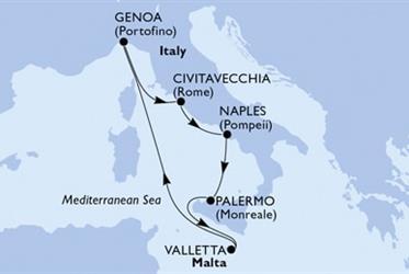 MSC Grandiosa - Palermo,Valletta,Janov,Civitavecchia,Neapol,Palermo (Palermo)