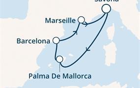Costa Diadema - Itálie, Baleáry, Španělsko, Francie (ze Savony)