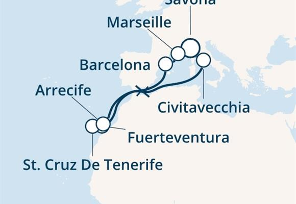 Costa Diadema - Itálie, Španělsko, Kanárské ostrovy, Francie (ze Savony)
