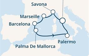 Costa Smeralda - Itálie, Francie, Španělsko, Baleáry (z Civitavecchie)